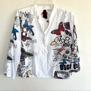 Desigual Butterfly Script Graphic Print Henley Top